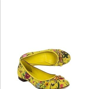 Gucci Yellow Floral Flats Ballet Flat Shoes 10B